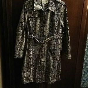 Michael Kors Snake Print Trench Coat L